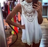 Sexy Sleeveless Lace Flower Mini Dress, Women Sexy Hollow Out white Short Dress woem girls sexy party & club dress