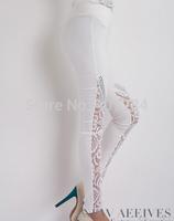 New fashion lady pants lace knee plicing hot drillings show thin pants pencil pants leggings and feet pants