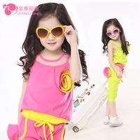 Children's clothing female child summer 2014 sports set child set child sleeveless baby clothes
