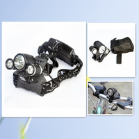 3000LM 10W High Power CREE 3 Head XML T6 LED Bicycle Bike Front FlashLight Head Lamp Cycling Headlamps Light 2 in 1