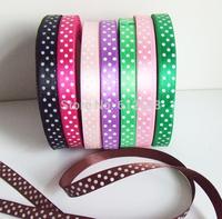 """Free shipping Dot Printed Ribbon 3/8""""(9mm) satin ribbon,8 color mixed Rib helical ribbons"""