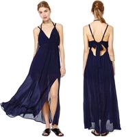 Back Bow Spaghetti Strap Deep V-neck Tube Top Long Design Side Split Lining Maxi Dress Summer Dress 2014 Factory Dropshipping
