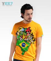 New 2014 WORLD CUP Brasil Memorial Netherlands Italy Argentina Germany football men's T-shirt
