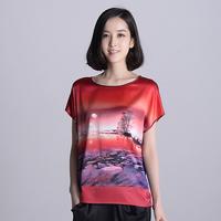 2014 spring high quality women's silk shirt female short mulberry silk o-neck shirt silk top
