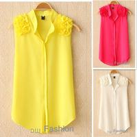 Free shipping new women's summer V-neck T-shirt Slim wood ear sleeveless chiffon blouse
