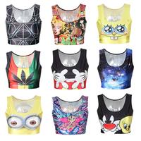 EAST KNITTING New 2014 Summer B001 Fashion Women Tank tops 3D Despicable Me Minion Print women crop top Girl t shirt sleeveless
