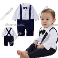 Baby Infant Kid Child Toddler Newborn Boy Grow Gentleman Brace Bowknot Onesie Bodysuit Romper Jumpsuit Outfit Set Suit One-Piece