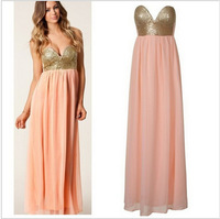 2014 Real New Arrival Freeshipping Natural Chiffon Two Color Arrvial Plested Maxi Sequin Bustier Dress Bnwt Pwach Coral