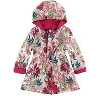 2014 New autumn and winter france brand children coat & outerwear,floral kids girls coat, designer girls reversible jacket