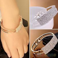 New Elegant Women Bangle Wristband Crystal Bracelet  Cuff Bling Lady Gift Bracelets & Bangles 038W