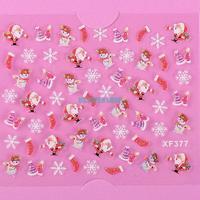 Nail Tool ES4764 Christmas Hat Sock Snowman Santa Claus 3D Nail Art Decoration Tip Sticker Decal