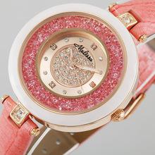 Melissa Ladies Wrist Watch Quartz Hours Best Fashion Jewelry Bracelet Brand Leather Clock Luxury Rhinestones Bling CZ 11772