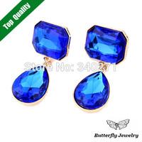New 2014 Stud Earrings Fashion Design Big Acrylic Crystal Earrings Women Jewelry Ocean Blue