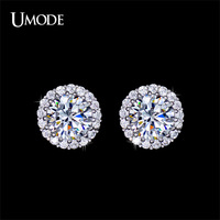 UMODE Hearts & Arrows Perfect Cut White Gold Plated Stud Earrings for Women Fashion Zricon Earrings Free Drop Shipping UE0096