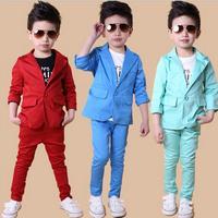wholesale 2014 new arrival spring boys sets 2-7 Children's candy color gentleman suit woolly boy suit+pants two pcs sets H938