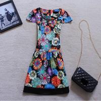2014 new summer fashion print dress gorgeous fireworks pearl collar Slim Korean temperament short-sleeved dress SY1128