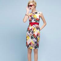 Hot Selling Women Multicolored Print Elegant Career Dress Slim OL Dresses VC4042 Plus Size