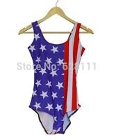 Lot 10 Sexy Women's Swimwear Digital Printing One-Piece Backless Swimsuit woman Beachwear Dress American flag