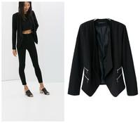2014 new women's autumn and winter double zipper decoration female leisure suit jacket suit