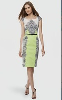2014 summer new brand fresh green positioning printing simple retro dress Pencil dress S~XXL Free shipping