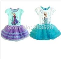 2014 summer new fashion ice princess dress children girl prom dresses prom dresses romantic Red Blue Purple Cartoon Girl Dress