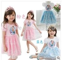 2014 Summer new girls ice princess dress prom dresses Romance Red Blue Purple Cartoon Girl Dress Up