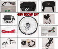 "convert ebike 48V 500W 24"" Front Wheel Electric Bicycle Ebike Conversion Kits with LCD Display"