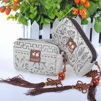 Top Quality,China Wind 2014 New Fashion Vintage Handmade  Yunnan Ethnic Double Zipper Zero Purse Handbag Wholesale