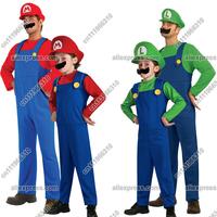 New Adult Kid Toddler Children Men Boy Super Mario Luigi Bros Fancy Dress Plumber Game Cosplay Cartoon Costume Outfit Halloween
