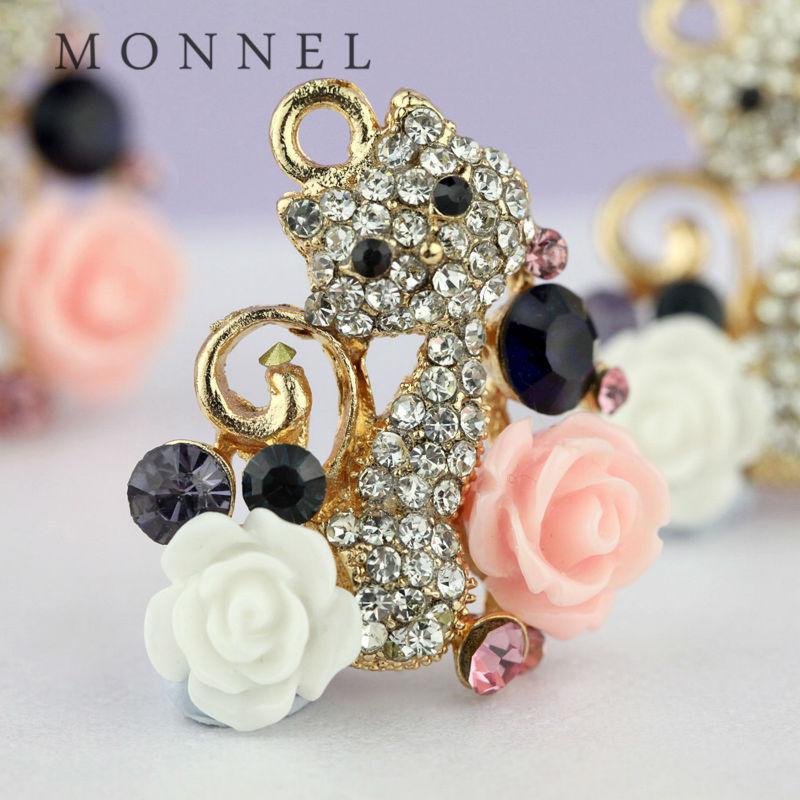 H379 MONNEL New Arrival 3pcs Crystal Pendant Rose Pet Kitten Cat Charm(Hong Kong)