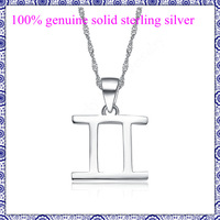 100% 925 sterling silver pendants for chain necklace jewelry for lady girl Constellation Gemini no allergy retail & wholesale