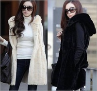 New 2014 Fashion Faux Fur Vest Coat With Hooded Women's Slim rabbit fur Jacket Winter Fur Warm Coat  Plus Size  Free Shipping
