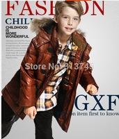 Free Shipping!Zippers.Hooded kidswinter jacket for  boy children  90% white duck down cuhk boy short down jacket  M -C -K839