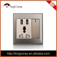 2.1A usb wall switch socket features five-hole panel PC with dual usb fireproof material mobile phone charger