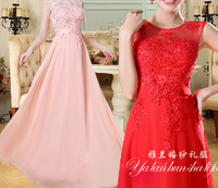 1pcs/lot free shipping New water-soluble Lace Pearl Formal Dress Slit Neckline Long embroidery floor-length Evening Dress