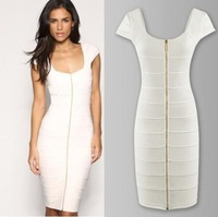 NEW 2014 Womens Slim Fit Square Neck Bandage Dresses Bodycon Business Party Cocktail Zipper Dress Vestidos