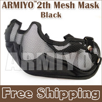 Armiyo 2th Generation Face & Ear Protective Equipment Lower Half Face Steel Mesh Mask Hunting Shooting  Resistant Black