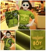 Children boys spring&autumn  fashion punk  3pcs/set army camouflage eagle flag clothing (cotton waistcoat+sweatshirt+long pants)