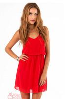Free shipping 2014 summer new women dress solid double-strap chiffon dress vestido