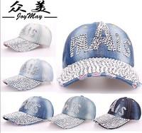 Free shipping Diamond washed denim high quality baseball cap hat, women baseball cap, ladies sport cap, Leisure cowboy hat