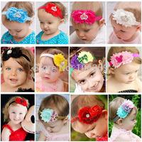 Shabby Chiffon Flower With Rhinestone Crown Headbands Baby Girl Headband Mickey Hairband Hair Accessories 12pcs HB065