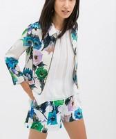 CT595 New Fashion Ladies' elegant Flower print three quarter sleeve Jacket coat zipper outwear casual slim brand designer tops