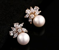 Brand New Rose gold plated cubic zircon CZ simulated pearl elegant jewelry earring Korean style
