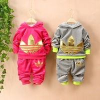 New 2014 spring / autumn clothing Genuine size boys and girls velvet suit leisure sets children hoodies + pants free shipping