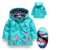Free shipping 2014 hot sale waterproof girls wind coat,Topolino girls green jacket with hood,kids autumn coat