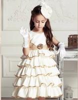 2014 new Girls Dress Princess dress children's wear Party veil Big bow girl wedding flower Baby girls dress purple