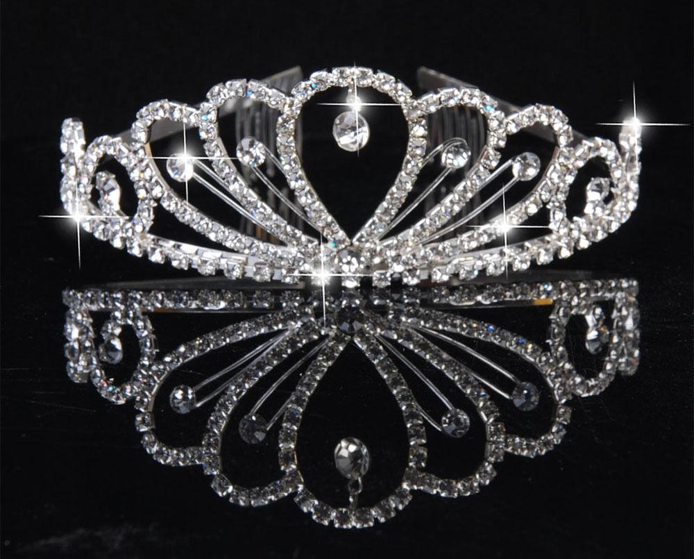 New Stylish noble Pretty Silver Crystal Rhinestone Wedding Bridal Rhinestone Crown Headband Tiara CombFree Shipping
