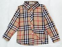 Free Shipping New Children Blouse Boys British Style Cotton Shirt Children Long Sleeve Shirt Fit 2-7Yrs 1 Piece
