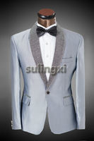 New Brand Groom Costume Wedding Suits For Men 2014 Designers Formal Silver Bright Collar Slim Fit Dress Suits Jacket With Pants