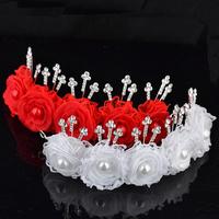 Faux Pearl Crystal Rhinestone Flower Bridal Wedding Headpiece Head Wrap Clip Tiara Free Shipping